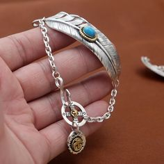 Wholesale S925 silver products fashion retro Japan style Inlaid Turquoise feathers Takahashi Goro Silver Bracelet