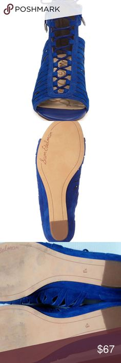 Daleece Lace-Up Sandal SAM EDELMAN Royal Blue 8.5 Daleece Lace-Up Sandal SAM EDELMAN Royal Blue Size 8.5 M. Like New, worn once. In Box With its soft suede construction, chic low wedge and peekaboo sides,  this peep-toe sandal is a shoe-in for your favorite of the season. Sam Edelman Shoes Sandals