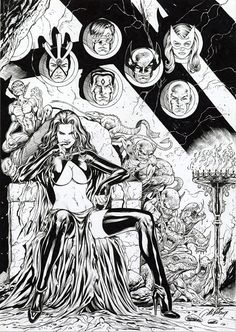 "Goblin Queen's Trophy Wall by Al Rio, in Chris C's ""Trophy Wall"" Themed Commissions 2 Comic Art Gallery Room Comic Book Pages, Comic Books Art, Comic Art, Marvel Comics, Manga Comics, Marvel Girls, Comics Girls, Comic Kunst, Marvel Comic Character"