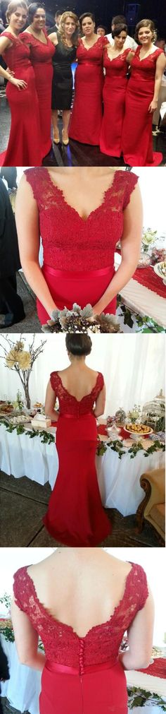 vestido de festa longo New V Neck Cap Sleeve Mermaid Red Lace Bridesmaid Dresses 2015 Floor Length Long Wedding Party Dresses