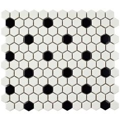 "Found it at AllModern - Retro 0.875"" x 0.875"" Hex Porcelain Mosaic Tile in Matte White with Black Dots"