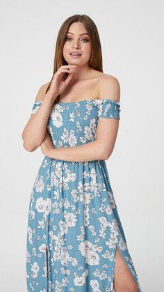 Indigo maxi dress, bardot dress, indigo dress, maxi dress, summer maxi dress, white floral dress