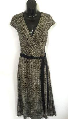 ANN TAYLOR LOFT Black Faux Wrap Print Dress Stretchy Fabric Spandex Size 10 NWT  #AnnTaylorLOFT #WrapDress #Casual