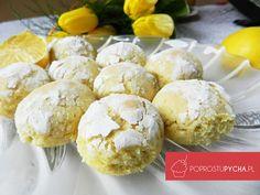 Popękane ciasteczka cytrynowe Polish Recipes, Croissants, Cake Cookies, Biscotti, Hamburger, Good Food, Gluten Free, Bread, Baking