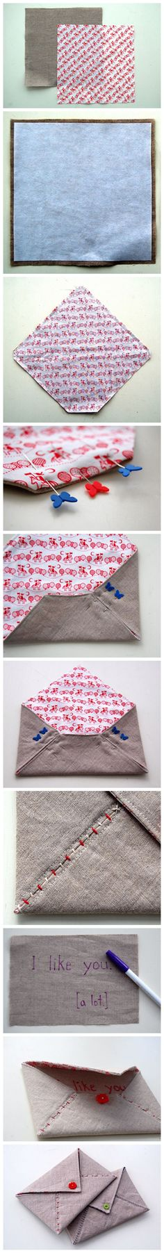 DIY: fabric envelope. I would like to enlarge to create a large clutch!