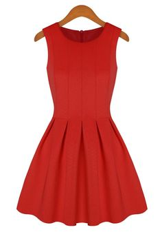 Red Plain Round Neck Sleeveless Cotton Blend Dress