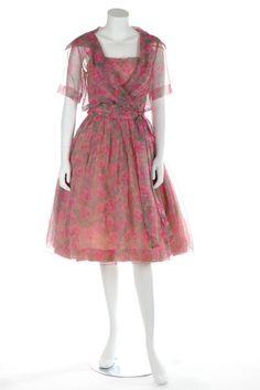 Christian Dior London rose printed chiffon dress, circa 1960