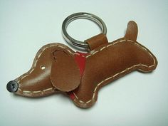 Copper the dachshund Leather Keychain  Dark Brown by leatherprince, $19.90