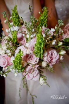 Country Garden Wedding Bouquet Bells Of Ireland Roses Etc Flowers By