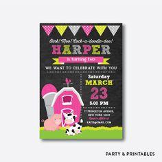 Barnyard Pink Chalkboard Kids Birthday Invitation / Personalized (CKB.56)