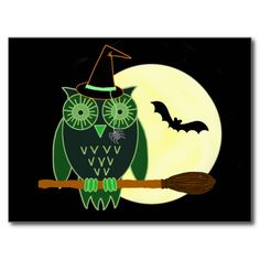 Halloween Owl on a Broom Post Cards Scary Halloween Images, Halloween Owl, A Broom, Shapes, Fun, Cards, Maps, Playing Cards, Hilarious