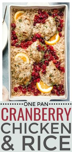 This Baked Orange Cranberry Chicken & Rice is made in just one pan and completely in the oven! This juicy, tangy chicken with tart cranberries and fluffy rice is healthy, delicious and perfect for any occasion! Cranberry Recipes Dinner, Cranberry Recipes Healthy, Cranberry Chicken, Easy Dinner Recipes, Healthy Recipes, Cranberry Rice, Dinner Ideas, Baked Chicken Tenders, Oven Baked Chicken
