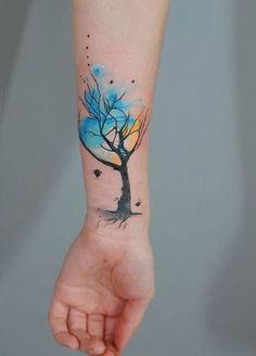 Watercolor Tree Tattoo Idea