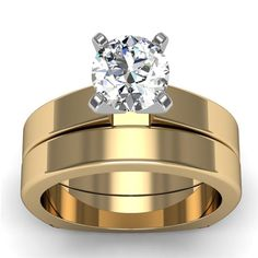 Squared Engagement Ring with Band in 18k Yellow Gold