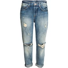 Boyfriend Low Ripped Jeans $39.99 ($40) ❤ liked on Polyvore featuring jeans, pants, bottoms, h&m, distressed denim jeans, denim jeans, destroyed boyfriend jeans, low-rise boyfriend jeans and blue jeans