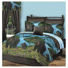 Northwood Woodland Lodge Cabin Decor Black Bear Blue Lake Scene Comforter Set   eBay