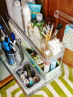 Put the space under your sink to work with simple add-ons and smart containers. Use our under-sink storage solutions to streamline your bathroom, kitchen, and mudroom. Bathroom Organization, Bathroom Storage, Organization Hacks, Cabinet Storage, Bathroom Ideas, Wire Storage, Design Bathroom, Garage Storage, Organizing Ideas