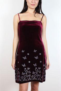 Vintage 90s Dress Burgundy Velvet Silver by ShopTwitchVintage