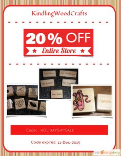 We are happy to announce 20% OFF our Entire Store. Coupon Code: HOLIDAYGIFTSALE Min Purchase: 10.00 Expiry: 11-Dec-2015 Click here to view all products:  Click here to avail coupon: https://orangetwig.com/shops/AABFPNc/campaigns/AABkkpN?cb=2015011&sn=KindlingWoodCrafts&ch=pin&crid=AABkkpu