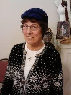 Randora smiling fine.  AweSome Crochet by Gina Renay #navy #hat #customer