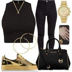 Untitled #635 by kgoldchains on Polyvore featuring moda, New Look, Giuseppe Zanotti, Michael Kors, Melissa Odabash and Chanel
