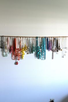 "DIY Jewelry display from Beauty & the Beard... Maybe a curtain rod with ""s"" hangers on it..."