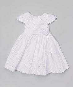 Look at this #zulilyfind! White Sparkle Flower Baptism Dress - Infant, Toddler & Girls by Fouger for Kids #zulilyfinds