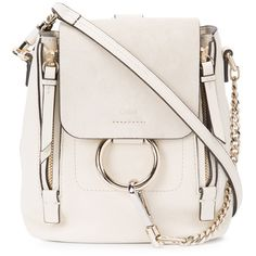 Chlo? Off White Mini Faye Backpack Bag (€1.210) ❤ liked on Polyvore featuring bags, backpacks, day pack backpack, mini rucksack, convertible backpack, chloe bag and off white bag