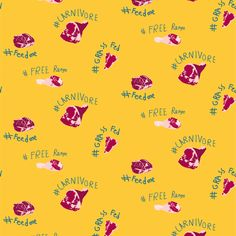 Carnivore fabric by plaid_thursdays on Spoonflower - custom fabric Custom Fabric, Spoonflower, Gift Wrapping, Plaid, Meat, Digital, Wallpaper, Prints, Pattern