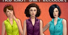 GP06 Tied Knot ShirtRecolors      Custom icon thumbnail  Standalone  TOU  27 Lisa colors  by @simsrocuted    Mesh by EA  (Jungle Adven...