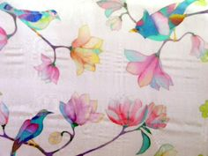 Handpainted shawl Flower birds scarves Bird painting Square scarf silk Hand painted silk Batik Wedding shawl Womens gift f her birthday gift