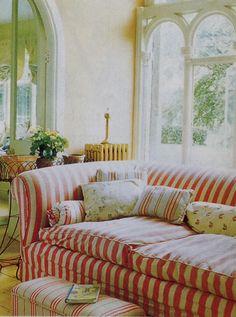 red striped sofa...a fun accent