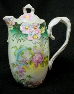 RS PRUSSIA FLORAL CHOCOLATE or COFFEE POT w RIBBON STYLE HANDLE