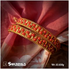 double line coral - GSJPL - Do let us know for more details Plain Gold Bangles, Gold Bangles Design, Gold Jewellery Design, Coral Jewelry, Bridal Jewelry, Silver Jewelry, Silver Jewellery Indian, Silver Earrings, Diamond Mangalsutra