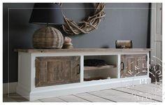Maatwerk! Landelijk tv meubel old wood / riviera white   》Landelijk tv meubel / flatscreenmeubel / flatscreenkast   Puur & Landelijk Living