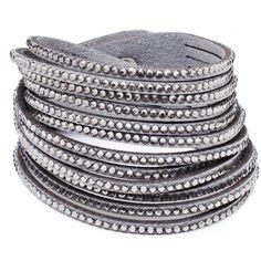Vegan Faux Leather White Crystal Wrap Bracelet Swarovski Elements