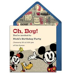 Customizable Retro Mickey Mouse online invitations. Easy to personalize and send for a Mickey Mouse birthday party. #punchbowl
