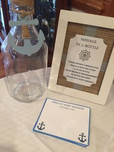 Nautical boy baby shower. Message in a bottle