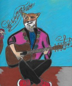 Fox playing a guiter