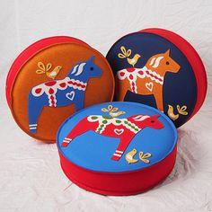 Swedish Dala Horse Stacking Floor Cushions