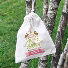 Frohe Ostern - kleiner Geschenksack mit Name, Hasen und Ostereiern   geschenke-online.de