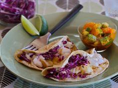 Fish Tacos with Mandarin-Avocado Salsa! #recipe #fishtaco #taco #fish #mandarin #avocado
