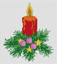 Free Cross Stitch Patterns by AlitaDesigns: Christmas Candle