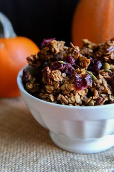 Cozy up with a Fall pantry Staple; Pumpkin Maple Pecan Granola with Cranberries. Crunchy clusters with all the Fall flavors, a delicious grab n go snack or breakfast. vegan   gluten free