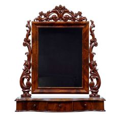 19th Century Carved Mahogany Freestanding Dressing Table Mirror 1