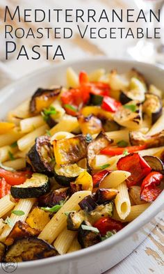 If you are looking for a great, easy vegetarian pasta dish then this Mediterranean Roasted Vegetable Pasta is going to fit the bill perfectly. The veggies (bell pepper, onion, zucchini) are all roasted with olive oil before being tossed with penne Vegetable Pasta Recipes, Roasted Vegetable Pasta, Vegetarian Pasta Dishes, Easy Vegetarian Dinner, Vegetable Dishes, Sprouts Vegetable, Penne Pasta Recipes, Vegetarian Recipes Low Sodium, Vegtable Pasta