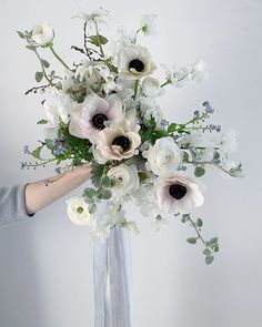 One more of Liz's bridal bouquet with hints of grey & blue 🖤 Bridal Bouquet Fall, Fall Bouquets, Fall Wedding Bouquets, Bride Bouquets, Bridal Flowers, Flower Bouquet Wedding, Bridesmaid Bouquet, Floral Wedding, Anemone Bouquet