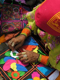 Mola Art (inverse quilting technique) of the Kuna Indians of Panama (Central America)