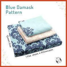 Treat your bed with this elegant blue damask print bedding set. This queen-size set features seep blue damask print embellished on rich sky blue bedding along with matching modern style pillowcases are added a luxurious new look to your master suite or guest bedroom.#balooworldotca #bedding #bedsheets #cotton #cottonsheets #100percentcotton #damask #damaskpattern #bedroomdecor #balooworldbedsheet #beddingsets #luxurybedding #beddingdecor #bedroom #bedroommakeover #bedroomideas #bedtime… Cotton Sheets, Cotton Bedding, Flat Sheets, Bed Sheets, Blue Bedding, Clothes Line, Laundry Detergent, Queen Size, Luxury Bedding