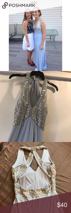 """Blue formal gown✨ Baby blue color with silver/ opal jewels wrap around the open back. Lightweight material with a built in slip and cups.  I'm about 5' 6"""" and the dress drags a little bit. There are some dirty spots in the train (I'm trying to get these out now) Macy's Dresses Prom"""